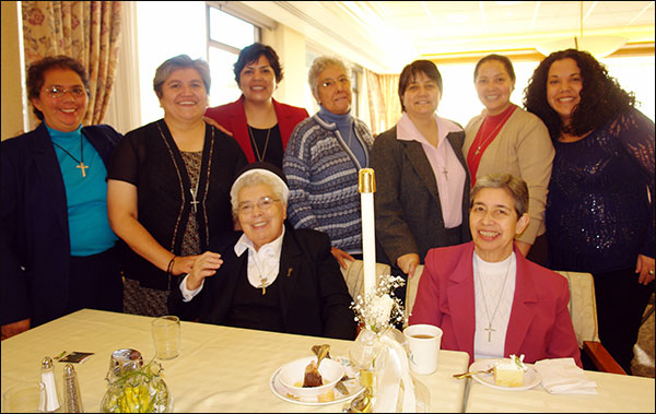 Pictured are (seated from left) Sisters Sylvia Troncoso and Isabel Cid; and (standing from left) Sisters Ana Dolores Orellana Gamero, Marisol Avila, Marcia Gatica, Myrta Iturriaga, Alba Letelier and Margarita Hernandez, along with Giselle Carcamo, justice for women coordinator at the Intercommunity Peace and Justice Center.