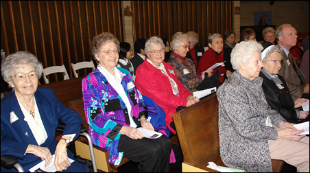 A host of Sisters of Providence turned out for the celebration, including (front row from left) Sisters Irene Charron and Claire Gagnon and (second row from left) Sisters Therese Kohles, Helen Brennan and Wilma Fitzgerald.