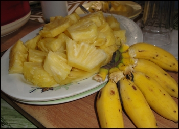 The small bananas here are especially tasty and the pineapple was so sweet and juicy because it had been picked the day before.