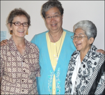 Pictured from left are Srs. Jeanne d'Arc, Jacqueline Fernandes and Rosario Herrara.