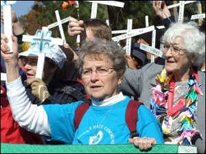 Sr. Charlene Hudon participates in a demonstration against the School of the Americas in Ft. Benning, Georgia.