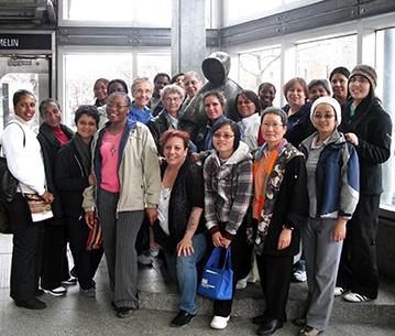 sisters visit statue of Sr. Emilie Gamelin in Montreal