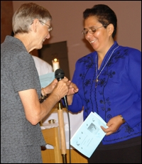 General Superior Kathryn Rutan (left) welcomes Sister Ana Dolores Orellana Gamero.
