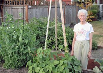 Sr. Paula Cosko in her garden.