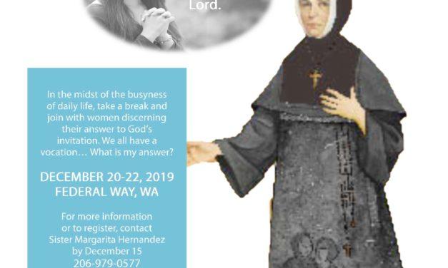 Women's Discernment Retreat Dec. 20-22, Federal Way, Wash.