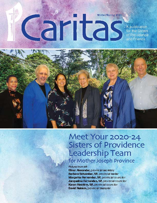cover of Caritas newsletter, winter/spring 2020 edition with large image of new leadership team on bluish watercolor background
