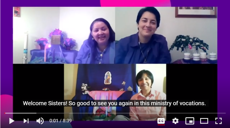 screen shot of Zoom meeting with three women religious and advent themed backgrounds
