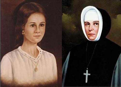 Side-by-side portraits of Emilie Tavernier, laywoman and Mother Emilie Gamelin, Sister of Providence