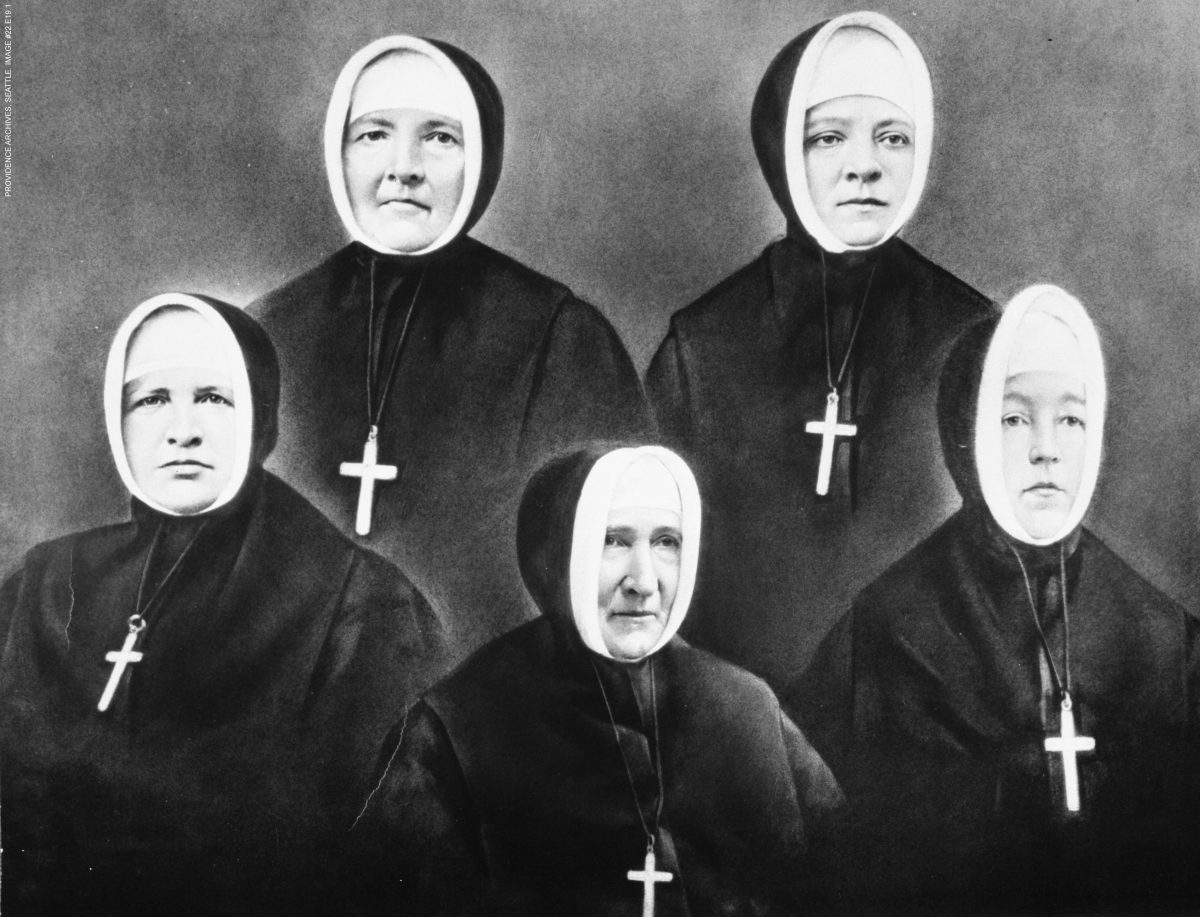 five Sisters of Providence in habit, black and white