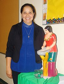 The Lady in Red, a statue from her native El Salvador, is one of Sister Margarita's favorites.
