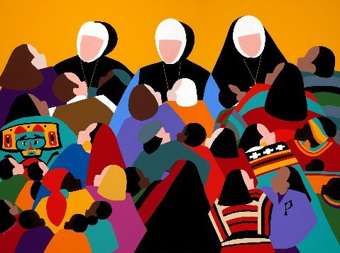 painting by Synthia St James of Sisters of Providence and people they serve